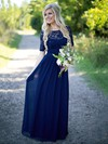 Graceful A-line Scoop Neck Lace Chiffon Sequins Floor-length Short Sleeve Bridesmaid Dress #PDS01012910