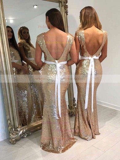 Backless Trumpet/Mermaid Scoop Neck Sequined Floor-length Sashes / Ribbons Bridesmaid Dresses #PDS01012911