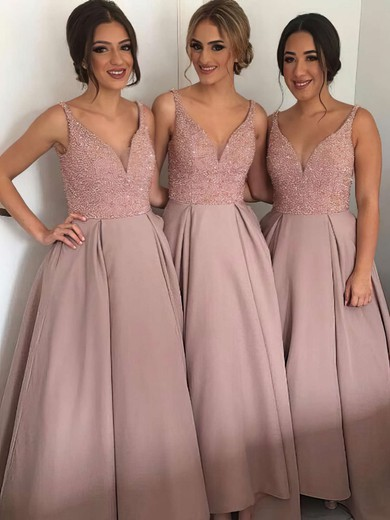 V-neck Floor-length Satin with Beading Princess Fabulous Bridesmaid Dresses #PDS01012912
