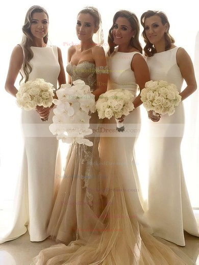 Scoop Neck White Silk-like Satin Sweep Train Ruffles Trumpet/Mermaid Bridesmaid Dresses #PDS01012913
