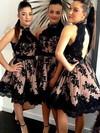 High Neck Open Back A-line Tulle Appliques Lace Short/Mini Bridesmaid Dresses #PDS01012914