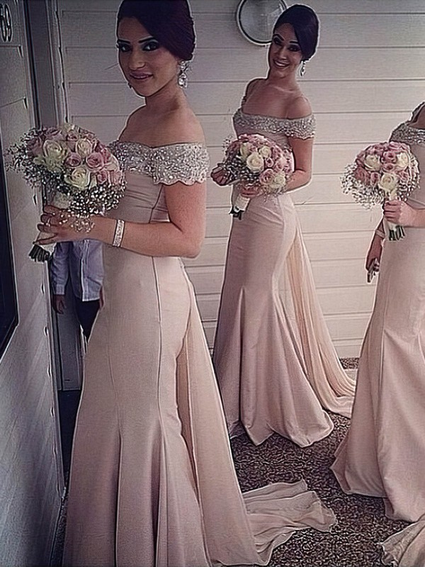 Trumpet/Mermaid Chiffon Beading Off-the-shoulder Watteau Train Amazing Bridesmaid Dresses #PDS01012916
