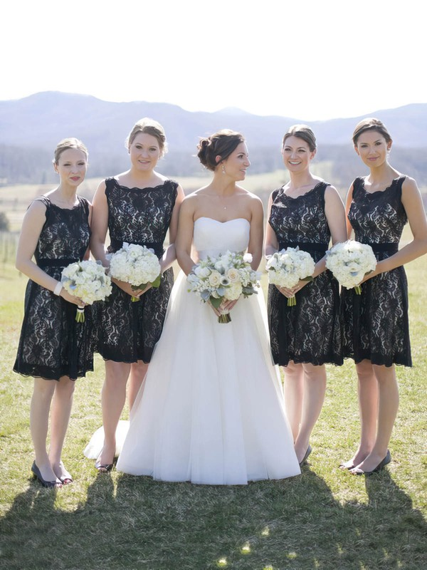 Knee-length A-line Scoop Neck Lace Sashes / Ribbons Black Open Back Bridesmaid Dresses #PDS01012917
