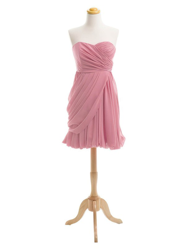 Short/Mini Sheath/Column Sweetheart Ruffles Chiffon Boutique Bridesmaid Dresses #PDS01012919