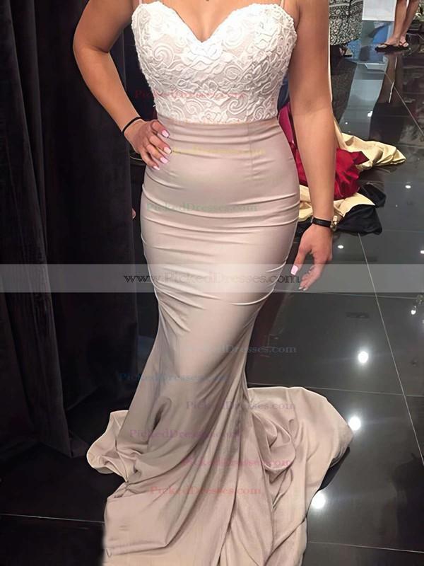 Sweetheart Silk-like Satin Sweep Train Appliques Lace Trumpet/Mermaid Backless Bridesmaid Dresses #PDS01012920