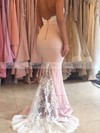 Sweetheart Silk-like Satin Sweep Train Appliques Lace Trumpet/Mermaid Backless Bridesmaid Dresses #PDS01012920