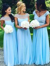 A-line Floor-length Scoop Neck Chiffon Tulle Pearl Detailing New Bridesmaid Dresses #PDS01012921