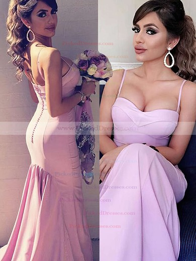 Sexy Sweetheart Sweep Train Silk-like Satin Ruffles Trumpet/Mermaid Bridesmaid Dresses #PDS01012922