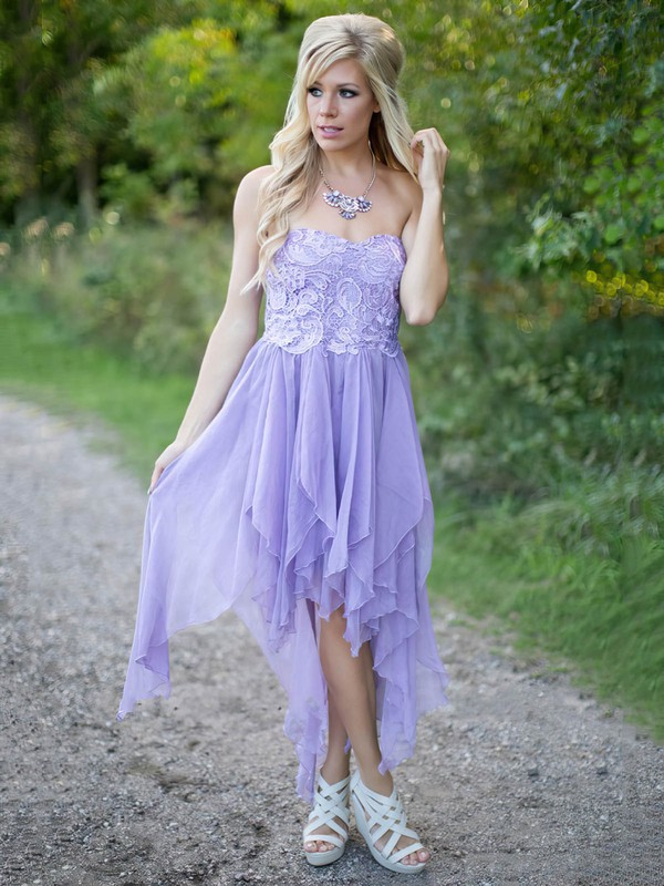 A-line Sweetheart Chiffon with Lace Asymmetrical Classy Bridesmaid Dresses #PDS01012923