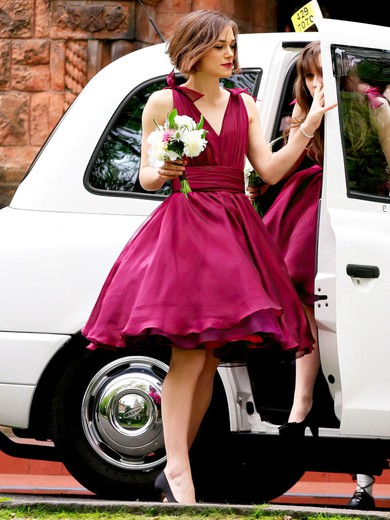 Exclusive A-line V-neck Chiffon with Ruffles Short/Mini Bridesmaid Dresses #PDS01012925