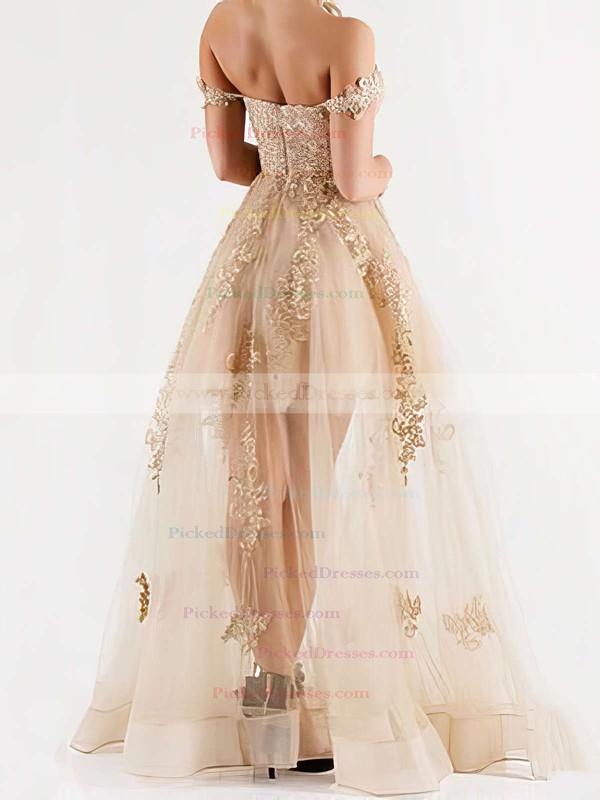 A-line Floor-length Tulle Appliques Lace Trendy Off-the-shoulder Bridesmaid Dress #PDS01012926