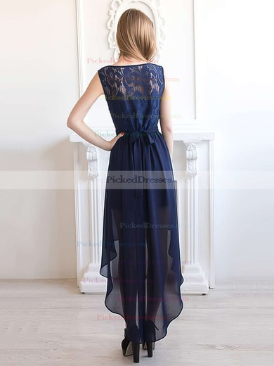 Casual A-line Scoop Neck Dark Navy Chiffon with Lace Asymmetrical Bridesmaid Dresses #PDS01012927