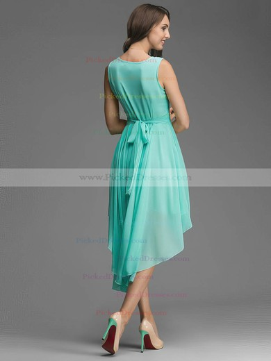 Simple A-line Scoop Neck Chiffon Sashes / Ribbons Asymmetrical Bridesmaid Dresses #PDS01012928