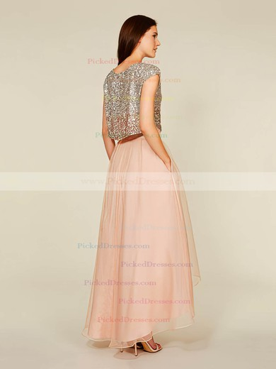 A-line Scoop Neck Tulle Sequined Asymmetrical Short Sleeve Two Piece Bridesmaid Dress #PDS01012930