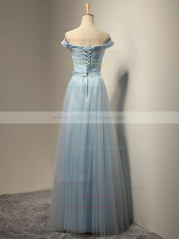 A-line Tulle Sashes / Ribbons Floor-length Lace-up Off-the-shoulder Bridesmaid Dresses #PDS01012931