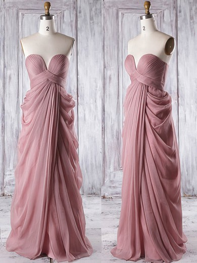 Empire Sweetheart Ruffles Chiffon Floor-length Custom Bridesmaid Dresses #PDS01012933