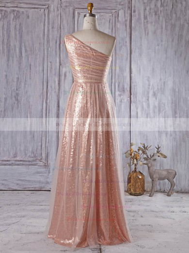 One Shoulder A-line Ruffles Tulle Sequined Floor-length Unique Bridesmaid Dress #PDS01012934