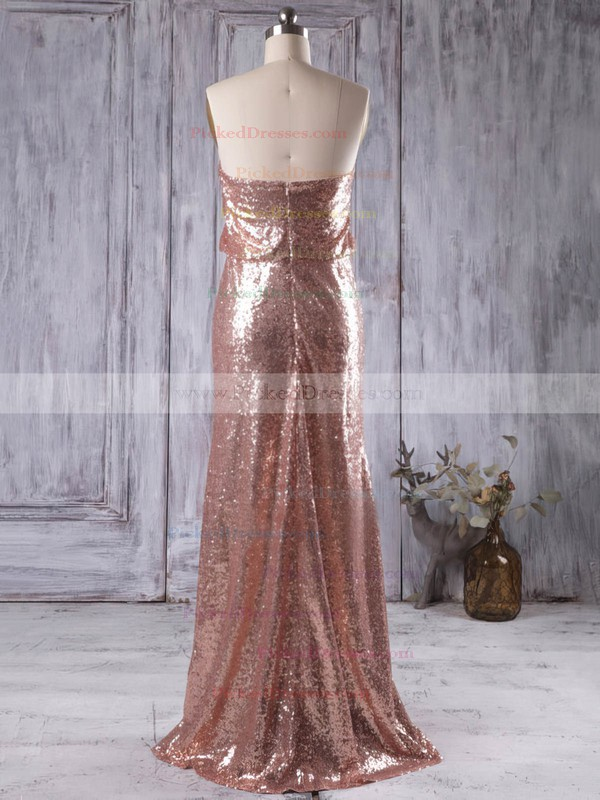 Sheath/Column Strapless Sequined Floor-length Sparkly Bridesmaid Dresses #PDS01012935