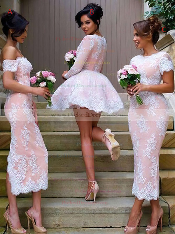 V-neck A-line Tulle Appliques Lace Long Sleeve Short/Mini Different Bridesmaid Dresses #PDS01012937