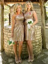 One Shoulder Sequined Ruffles Short/Mini Sheath/Column Latest Bridesmaid Dress #PDS01012939