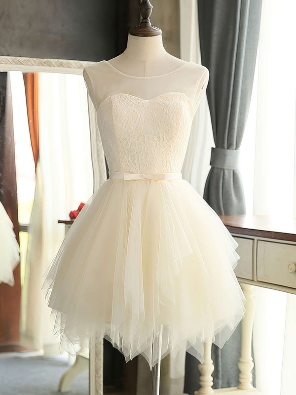 Scoop Neck Lace Tulle Sashes / Ribbons Girls A-line Short/Mini Bridesmaid Dresses #PDS01012941