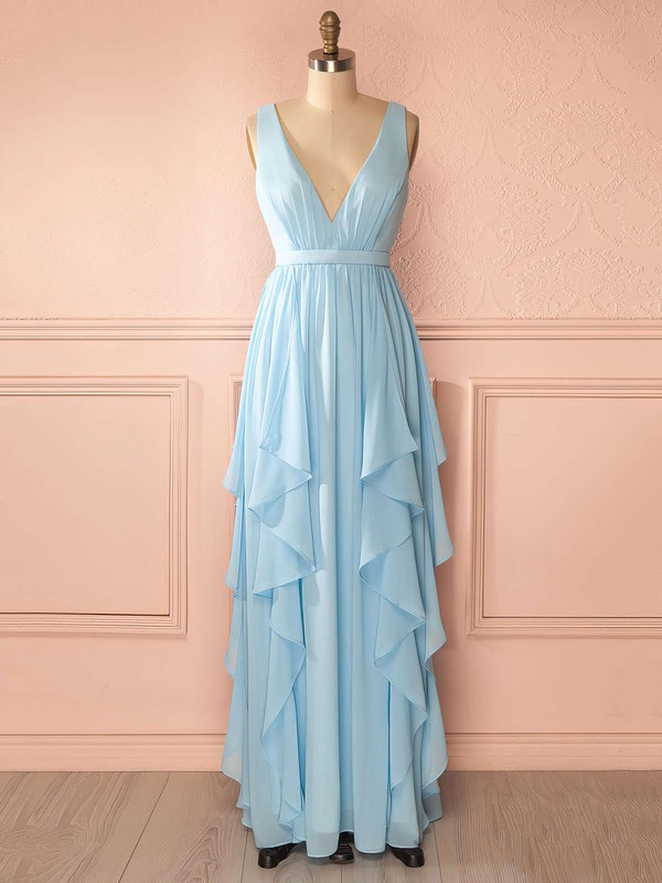A-line Floor-length Chiffon Sashes / Ribbons Amazing V-neck Bridesmaid Dresses #PDS01012942