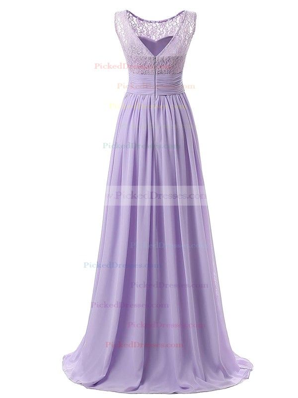 A-line Scoop Neck Floor-length Lace Chiffon with Ruffles Ladies Bridesmaid Dresses #PDS01012943