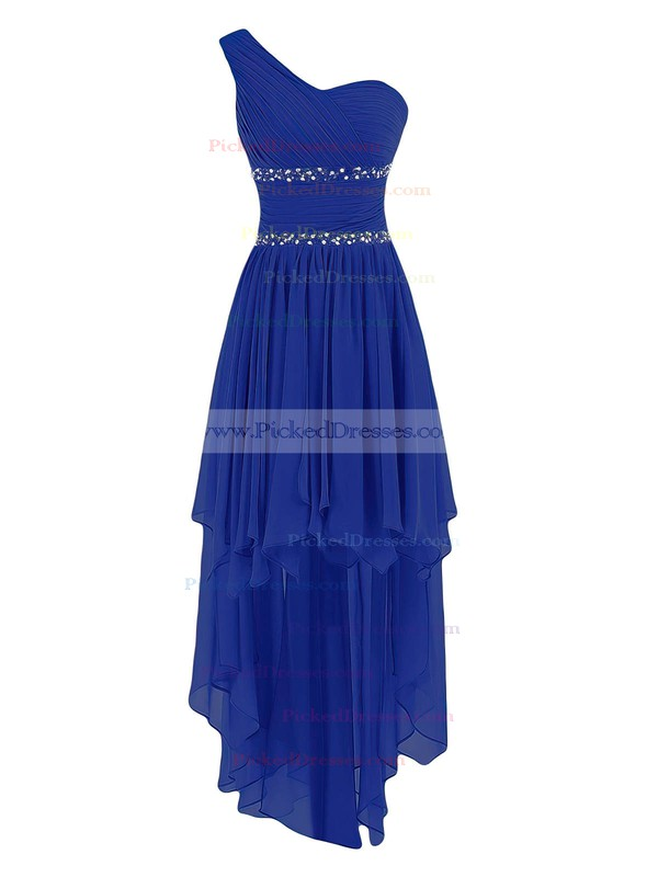 Best Asymmetrical A-line Chiffon with Beading One Shoulder Bridesmaid Dresses #PDS01012944