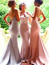 Top Sweetheart Silk-like Satin Sweep Train Appliques Lace Backless Trumpet/Mermaid Bridesmaid Dress #PDS01012946