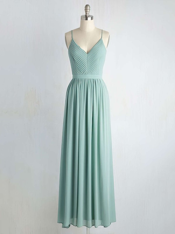 Backless A-line Floor-length V-neck Ruffles Chiffon Beautiful Bridesmaid Dresses #PDS01012947