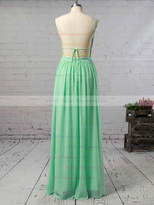 Backless A-line Floor-length V-neck Ruffles Chiffon Beautiful Bridesmaid Dresses #PDS01012947