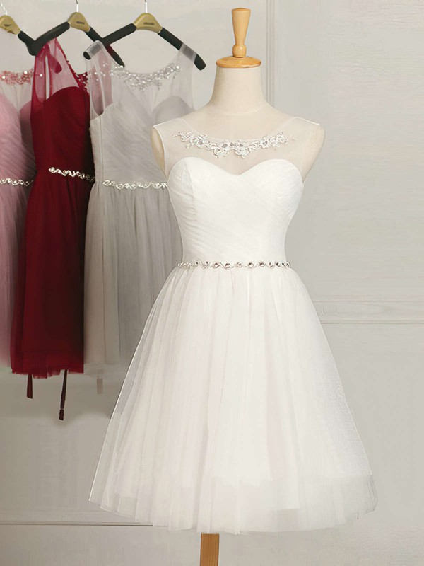 White A-line Scoop Neck Tulle Ruffles Junior Short/Mini Bridesmaid Dresses #PDS01012948