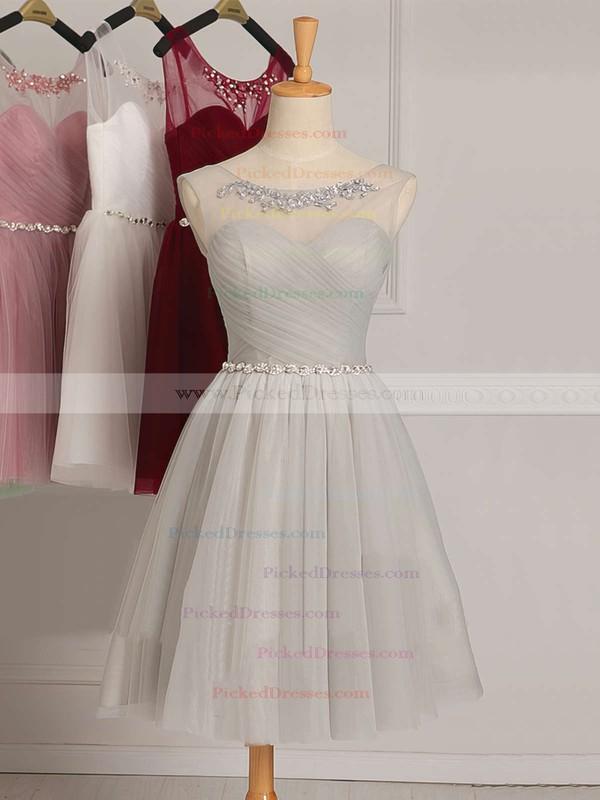 White A-line Scoop Neck Tulle Ruffles Junior Short/Mini Bridesmaid Dresses #PDS01012948