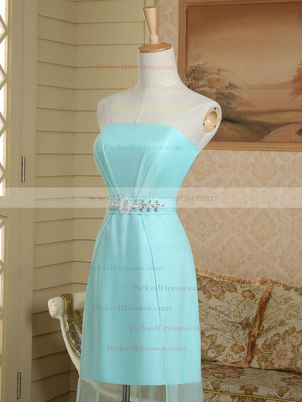 Original Sheath/Column Ruffles Satin Chiffon Strapless Asymmetrical Bridesmaid Dress #PDS01012949