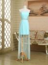 Original Sheath/Column Ruffles Satin Chiffon Strapless Asymmetrical Bridesmaid Dress #PDS01012949