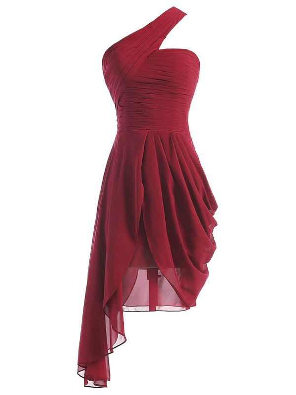 Cheap A-line One Shoulder Ruffles Chiffon Asymmetrical Burgundy Bridesmaid Dresses #PDS01012950