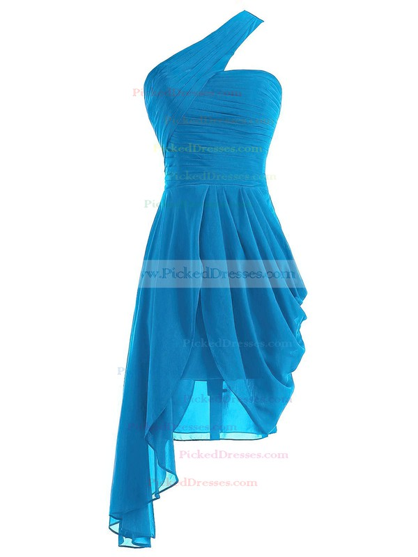 Cheap A-line One Shoulder Ruffles Chiffon Asymmetrical Burgundy Bridesmaid Dresses #PDS01012950