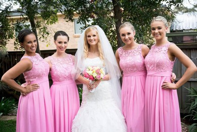 A-line Floor-length Scoop Neck Chiffon with Lace Pretty Bridesmaid Dresses #PDS01012951