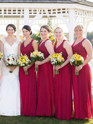 A-line V-neck Burgundy Chiffon Floor-length Appliques Lace Open Back Bridesmaid Dresses #PDS01012952