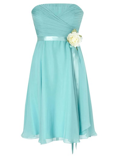 Junior Strapless Chiffon Knee-length with Sashes / Ribbons Empire Bridesmaid Dresses #PDS01012953
