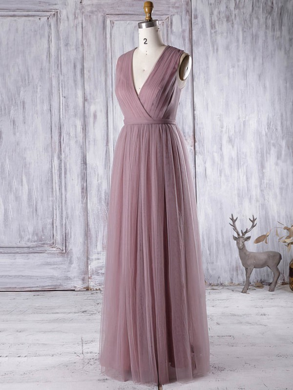 A-line V-neck Tulle with Appliques Lace Floor-length Glamorous Bridesmaid Dresses #PDS01012956