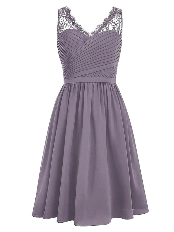 Knee-length A-line V-neck Chiffon with Lace Classic Bridesmaid Dresses #PDS01012958