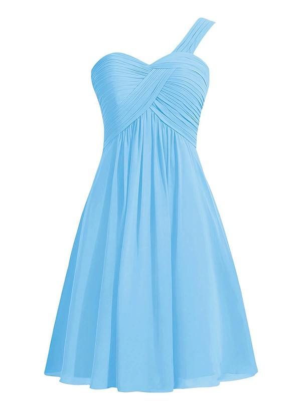 Blue Empire One Shoulder Ruffles Chiffon Knee-length Simple Bridesmaid Dresses #PDS01012959