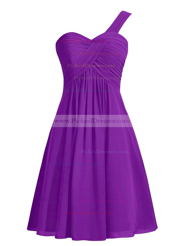 Blue Empire One Shoulder Ruffles Chiffon Knee-length Simple Bridesmaid Dresses #PDS01012959