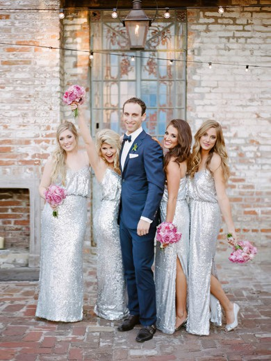 Latest Sheath/Column V-neck Sequined Floor-length Split Front Silver Bridesmaid Dresses #PDS01012961
