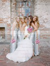 Latest Sheath/Column V-neck Sequined Floor-length Split Front Silver Bridesmaid Dresses #PDS01012961