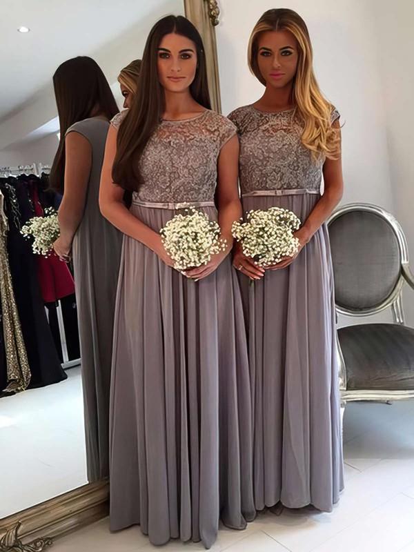 A-line Scoop Neck Chiffon Tulle Floor-length Appliques Lace Cap Straps Graceful Bridesmaid Dresses #PDS01012962