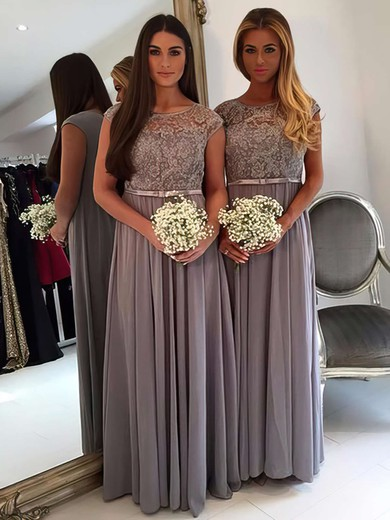 A-line Scoop Neck Chiffon Tulle Floor-length Appliques Lace Cap Straps Graceful Bridesmaid Dresses #PDS01012962