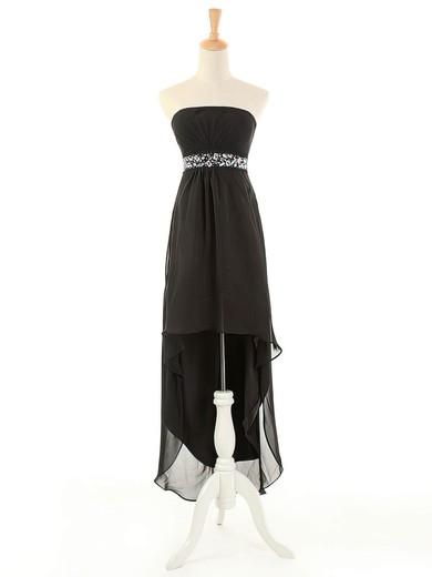 Original Empire Strapless Chiffon with Beading Black Asymmetrical Bridesmaid Dresses #PDS01012963