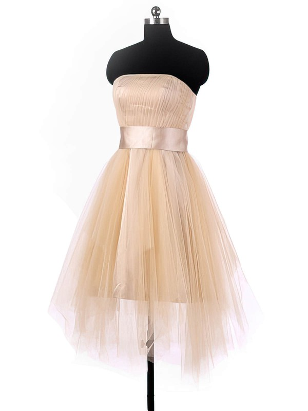 A-line Strapless Tulle with Sashes / Ribbons Asymmetrical Pretty Bridesmaid Dresses #PDS01012964